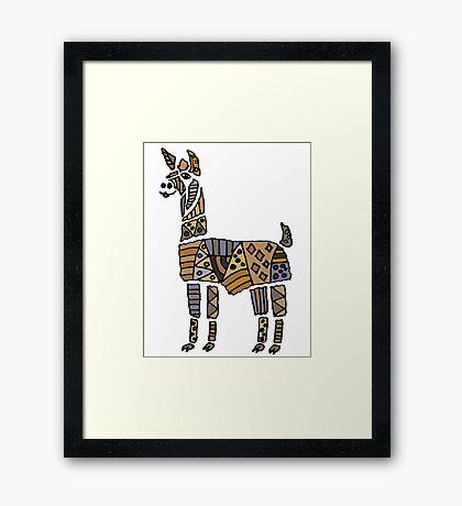 Fun Funky Llama Abstract Art original Framed Print