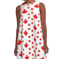 Canada Leggings - Canadian Maple Leaf Pattern Duvet A-Line Dress