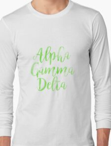 agd alpha gamma delta sorority sticker greek watercolor Long Sleeve T-Shirt