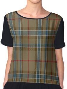 01150 Hazel Butter Fashion Tartan  Chiffon Top