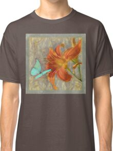 Afternoon in Tuscany II orange day lily aqua butterfly Classic T-Shirt
