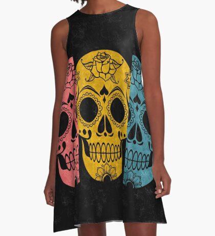Pop Grunge Sugar Skulls A-Line Dress