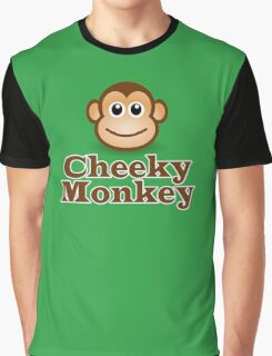 Cheeky Monkey - Funny Toon Face Sticker Graphic T-Shirt