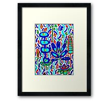 BLUE FLORAL ABSTRACT Framed Print