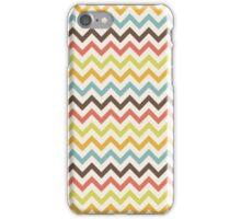 Brown, Coral, Blue, Green, Yellow Chevron Stripes iPhone Case/Skin