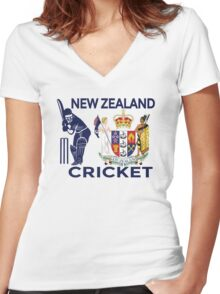 New Zealand Cricket Women's Fitted V-Neck T-Shirt