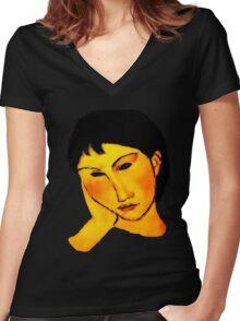 elvira resting at table Women's Fitted V-Neck T-Shirt
