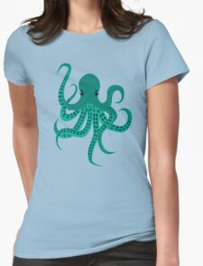 Cute Green Octopus Womens Fitted T-Shirt
