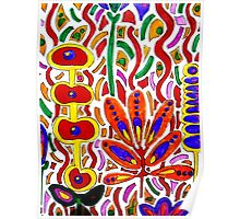 ORANGE AND YELLOW ABSTRACT FLORAL Poster