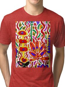 ORANGE AND YELLOW ABSTRACT FLORAL Tri-blend T-Shirt