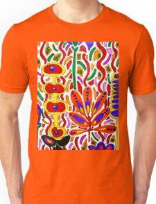 ORANGE AND YELLOW ABSTRACT FLORAL Unisex T-Shirt