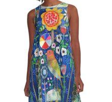 Color Wheel Bird A-Line Dress