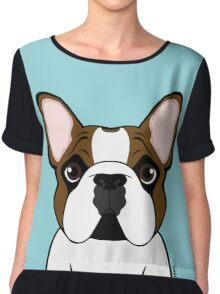 Seriously Frenchie - Fawn Pied Chiffon Top