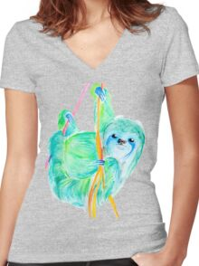 Dream Sloth Women's Fitted V-Neck T-Shirt