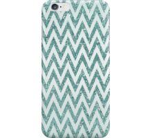 Faux Glitter Blue Chevron Zigzag Stripes iPhone Case/Skin