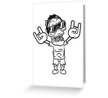 rocker hard rock heavy metal musik party feiern band konzert festival sonnenbrille untoter böse ekelig monster horror halloween zombie  Greeting Card