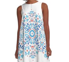 Folk Floral Tale in White A-Line Dress