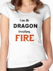 Dragon Breathing Fire Women's Fitted Scoop T-Shirt