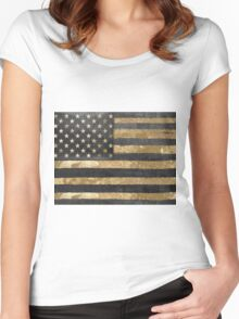American Flag Gold and Black  Women's Fitted Scoop T-Shirt