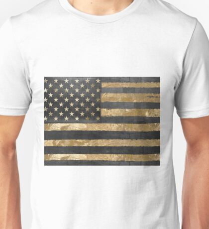 American Flag Gold and Black  Unisex T-Shirt