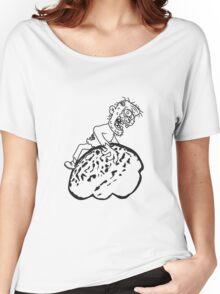 riesen gehirn fressen lecker essen zombie cool ekelig laufen horror monster halloween comic cartoon  Women's Relaxed Fit T-Shirt
