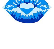 Kissing lips love heart blue by Style-O-Mat