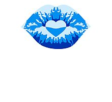 Kissing lips love heart blue Photographic Print