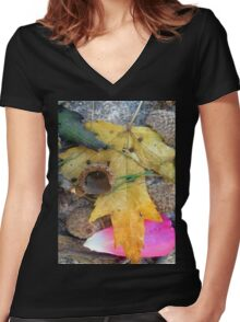 autumn mix Women's Fitted V-Neck T-Shirt