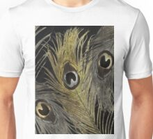 Silver and Gold Peacock Feathers Unisex T-Shirt