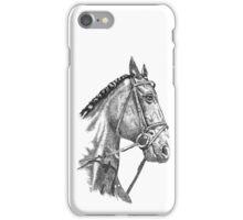 Fine line, hand drawn, Horse in Bridle iPhone Case/Skin