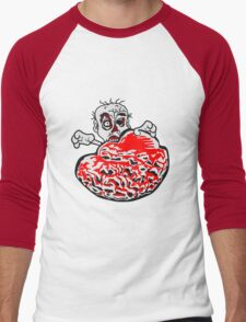 riesen gehirn fressen essen lecker beißen böse ekelig monster horror halloween zombie design  Men's Baseball ¾ T-Shirt