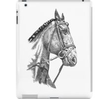 Fine line, hand drawn, Horse in Bridle iPad Case/Skin