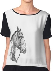 Fine line, hand drawn, Horse in Bridle Chiffon Top