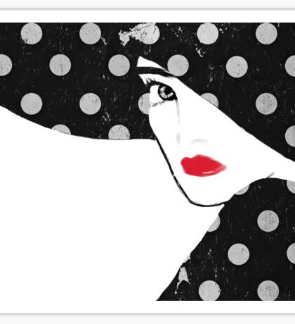 Polka Dot Hat Girl Sticker