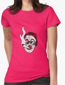 party dj joint rauchen kopfhörer musik cool sonnenbrille gesicht horror halloween kopf zombie böse gruselig cartoon  Womens Fitted T-Shirt