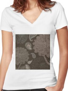 Cocoa Paisley III Women's Fitted V-Neck T-Shirt