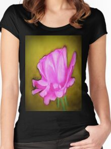 pretty pink flower Women's Fitted Scoop T-Shirt