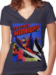 captain midnight in flight Women's Fitted V-Neck T-Shirt