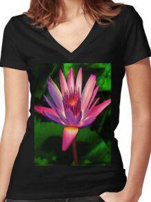 astounding native hawaiian flower Women's Fitted V-Neck T-Shirt