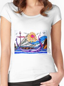 VIOLET VIKING BOAT Women's Fitted Scoop T-Shirt