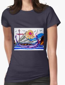 VIOLET VIKING BOAT Womens Fitted T-Shirt