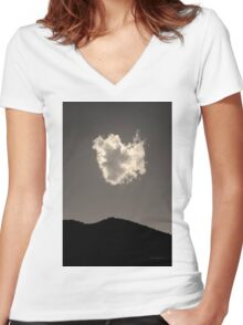 Lone Cloud BW Toned Women's Fitted V-Neck T-Shirt