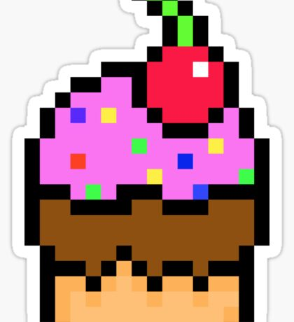 Cupcake with Cherry, Sprinkles , Pink Icing & Chocolate Icing Pixels Sticker
