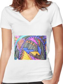 MULTICOLORED LINEAR SCAPE Women's Fitted V-Neck T-Shirt