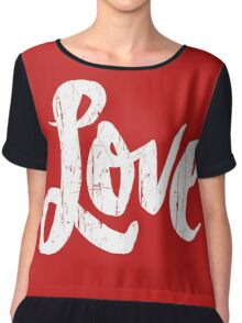 Bold Love Hand Lettering - Modern Distressed Calligraphy Word for Valentine - Red White Chiffon Top