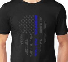Thin Blue Line Police American Flag Distressed Skull Unisex T-Shirt