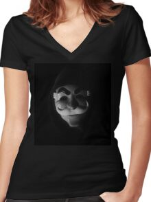 Mr Robot - mask glitch Women's Fitted V-Neck T-Shirt