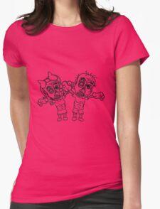 paar liebe verliebt pärchen 2 freunde mädchen junge böse ekelig monster horror halloween zombie design  Womens Fitted T-Shirt
