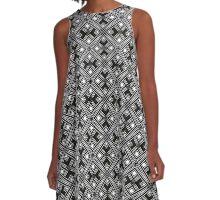 Star Cross | Black White & Bronze Gold Pattern A-Line Dress