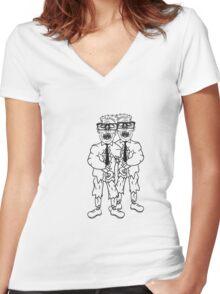 paar 2 freunde team anzug krawatte nerd geek streber freak hornbrille spange zombie lustig gesicht kopf untot horror monster halloween  Women's Fitted V-Neck T-Shirt